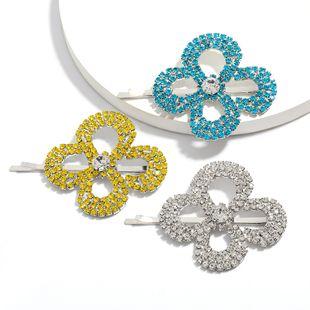 Moda simple aleación rhinestone flor de diamante coreano horquilla marea temperamento palabra clip horquilla venta al por mayor nihaojewelry NHJE222399's discount tags