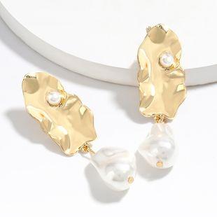 fashion minimalist style personality alloy imitation pearl earrings trendy temperament simple ear jewelry wholesale nihaojewelry NHJE222400's discount tags