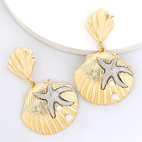 fashion summer beach ocean wind multi-layer alloy shell starfish inlaid pearl earrings wholesale nihaojewelry NHJE222402