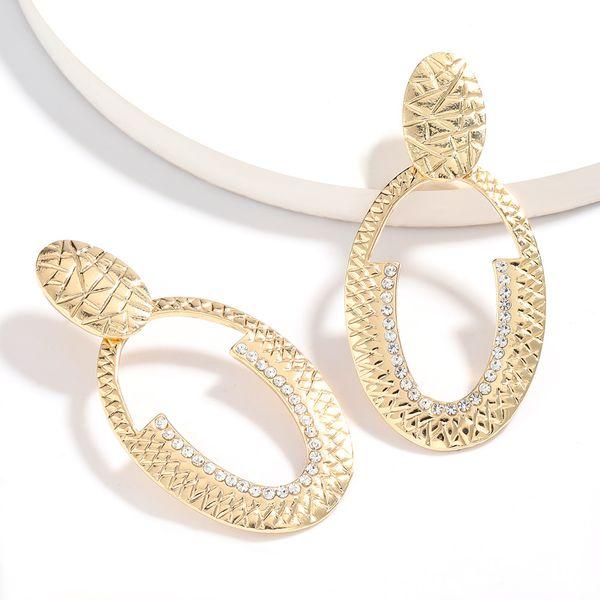Earrings new multi-layer oval alloy diamond geometric earrings retro simple earrings wholesale nihaojewelry NHJE222403