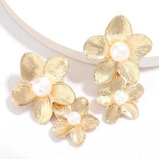 multi-layer alloy flower inlaid pearl earrings retro elegant temperament earrings wholesale nihaojewelry NHJE222404's discount tags