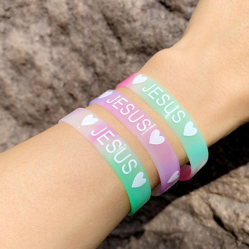 Luminous silicone bracelet bracelet hot sale JESUS love printing silicone bracelet wholesale nihaojewelry NHAS222421