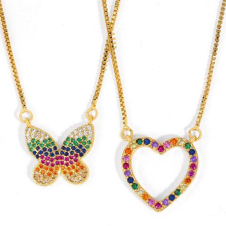 collier nouveaux accessoires simple pendentif papillon collier coeur d'amour pêche collier en gros nihaojewelry NHAS222426's discount tags