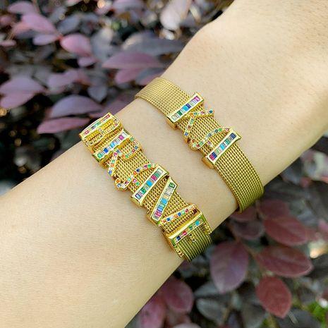 explosion accessories mesh bracelet personality DIY26 letter mesh belt bracelet couple wholesale nihaojewelry NHAS222428's discount tags