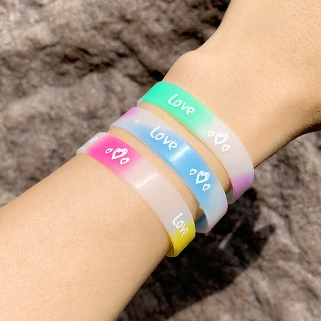 Bracelet love heart silicone bracelet love luminous sports running wristband couple bracelet wholesale nihaojewelry NHAS222429's discount tags