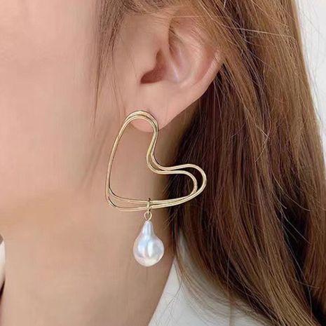 simple geometric love earring creative pearl pendant earring wholesale nihaojewelry NHMD222431's discount tags