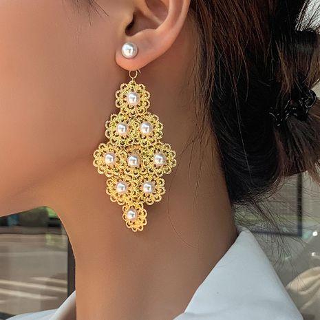 fashion retro palace style pearl earrings hollow geometric diamond earrings accessories wholesale nihaojewelry NHMD222438's discount tags