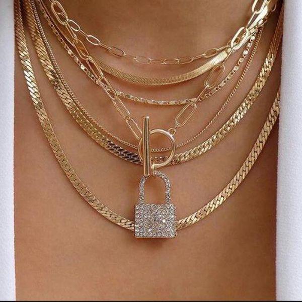 hot fashion punk style alloy multi-layer necklace creative geometric lock pendant necklace wholesale nihaojewelry NHMD222439