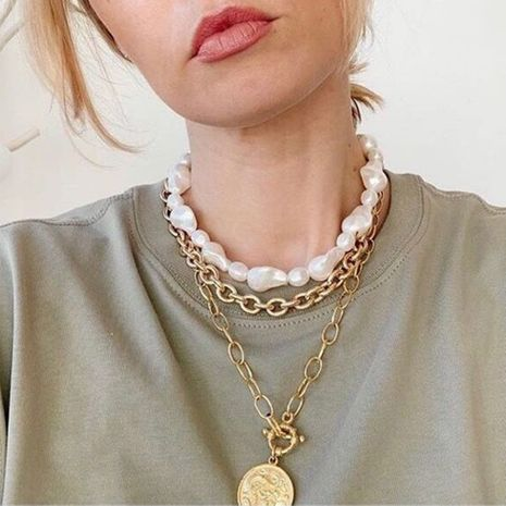hot creative relief avatar pendant pearl necklace creative multi-layer necklace suit wholesale nihaojewelry NHMD222441's discount tags
