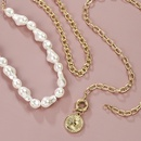 hot creative relief avatar pendant pearl necklace creative multilayer necklace suit wholesale nihaojewelry NHMD222441