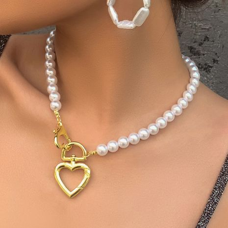 fashion pearl necklace creative alloy love lock buckle pendant clavicle chain wholesale nihaojewelry NHMD222447's discount tags