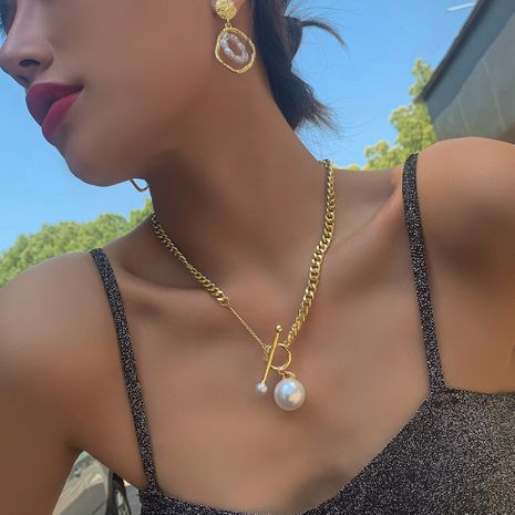 fashion jewelry geometric creative buckle pearl pendant retro necklace clavicle chain wholesale nihaojewelry NHMD222448's discount tags