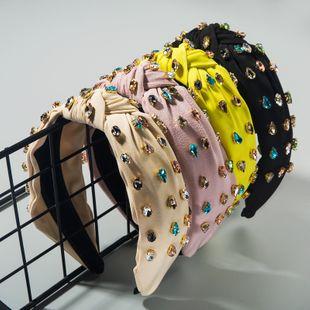 Diadema llena de diamantes de tela de alta calidad anudada colorida moda diadema plisada decoración exterior salvaje venta al por mayor nihaojewelry NHLN222453's discount tags