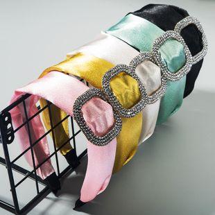 Diadema de satén de gama alta de color sólido de moda Moda coreana nuevo rhinestone temperamento cuadrado diadema de ala ancha accesorios para el cabello al por mayor nihaojewelry NHLN222458's discount tags