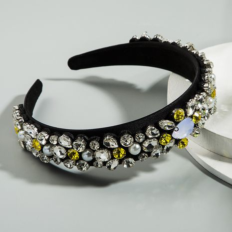Baroque retro simple full diamond wide-brimmed headband high-end fabric inlaid rhinestone luxury ladies prom show headband wholesale nihaojewelry NHLN222460's discount tags