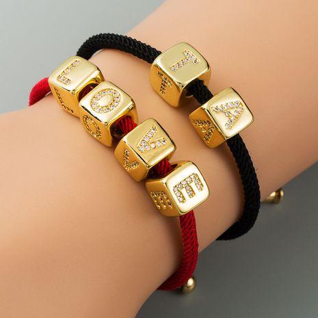 Bracelet explosion bracelet alphabet bracelet brass micro-inlay couple red rope pull DIY jewelry wholesale nihaojewelry NHLN222462's discount tags