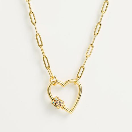 bijoux d'explosion hip-hop punk en forme de coeur pendentif collier Baku chaîne micro-ensemble couleur chaîne de cou en gros nihaojewelry NHLN222463's discount tags