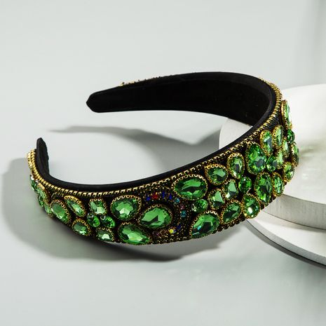 new popular emerald headband wild luxury rhinestone headband Baroque retro hair accessories wholesale nihaojewelry NHLN222466's discount tags