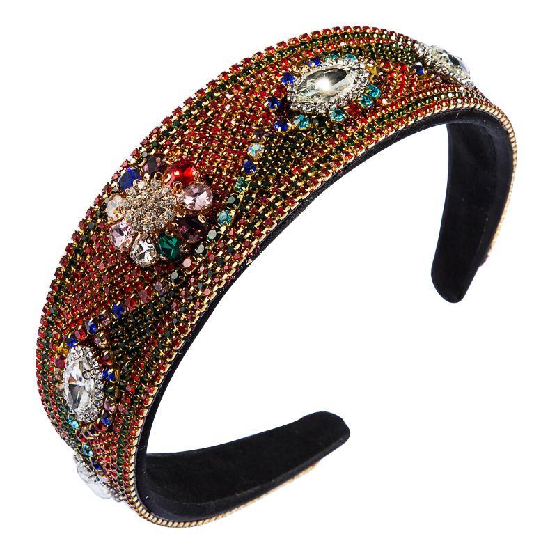 fashion Baroque high-end color rhinestone headband wild personality flower gift catwalk wide-brimmed headband wholesale nihaojewelry NHLN222467