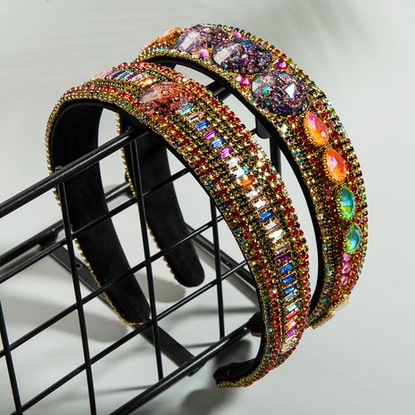 trend rhinestone headband fabric super flash flower wild Baroque wide-brimmed hair band high-end hair accessories wholesale nihaojewelry NHLN222470's discount tags