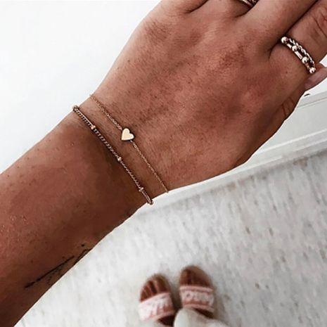 new jewelry fashion simple chain love bracelet peach heart bracelet 2 sets wholesale nihaojewelry NHGY222476's discount tags