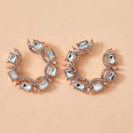 new C-shaped earrings exaggerated alloy diamond earrings glass circle earrings trinkets wholesale nihaojewelry NHGY222478's discount tags