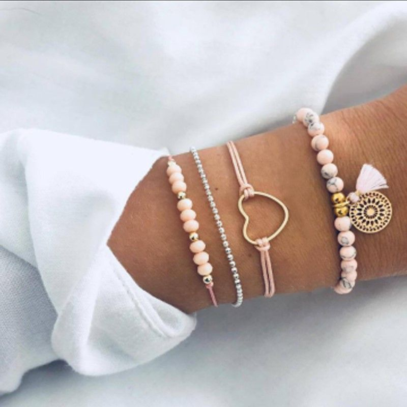 new jewelry fashion popular rice bead tassel bracelet love anchor anchor bracelet 5-piece wholesale nihaojewelry NHGY222484