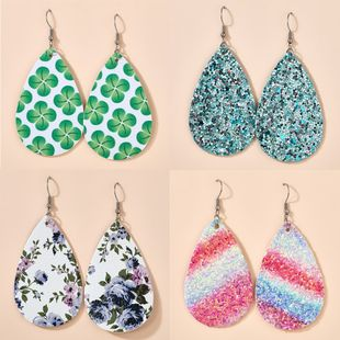 new earrings fashion temperament drop-shaped leaves leopard double-sided leather earrings wholesale nihaojewelry NHGY222486's discount tags