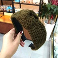 NHUX713680-Army-green-yarn-spiral-knotted-headband