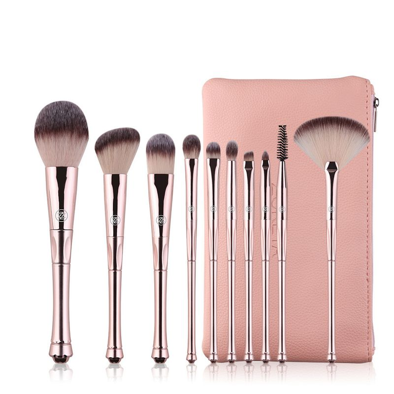 10 pieces crown handle makeup brushes artificial fiber portable beginner brushes wholesale nihaojewelry NHAY222519