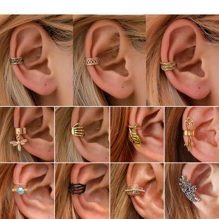 ear cuff simple retro C-shaped ear clip personality leaf painless ear bone clip cartilage U-shaped earrings wholesale nihaojewelry NHDP222169's discount tags