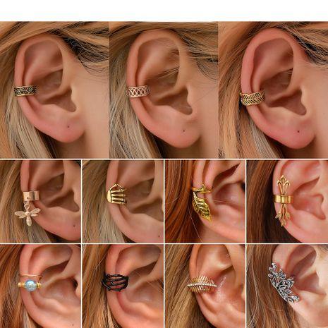 brazalete simple clip de oreja retro en forma de C personalidad hoja indoloro clip de hueso del oído cartílago pendientes en forma de U venta al por mayor nihaojewelry NHDP222169's discount tags