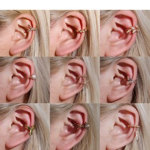 ear cuff retro C-shaped ear clip leaf ear bone clip cartilage U-shaped earrings wholesale nihaojewelry NHDP222171's discount tags