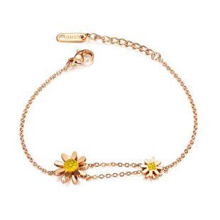 Korean fashion stainless steel sun flower explosion models small daisies diamonds Mori flowers bracelet fashion jewelry wholesale nihaojewelry NHOP222174's discount tags