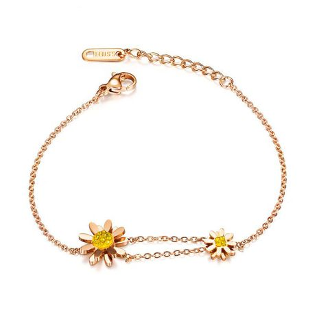 Korean fashion stainless steel sun flower explosion models small daisies diamonds Mori flowers bracelet fashion jewelry wholesale nihaojewelry NHOP222174's discount tags