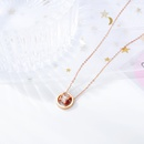 nouveau transfert de mode en acier inoxydable double anneau collier chane de clavicule simple pendentif sauvage collier bijoux en gros nihaojewelry NHOP222182