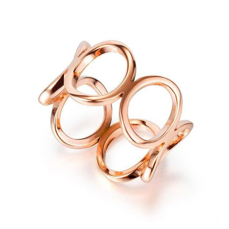 South Korea hot new products classic ladies stainless steel hollow rose gold ring popular girlfriends jewelry wholesale nihaojewelry NHOP222193's discount tags
