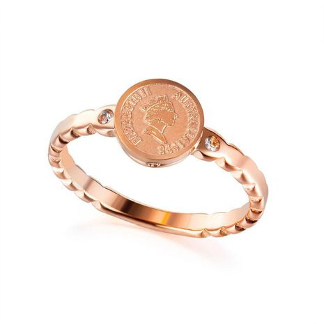new rose gold stainless steel diamond ring retro style queen coin wild jewelry wholesale nihaojewelry NHOP222195's discount tags