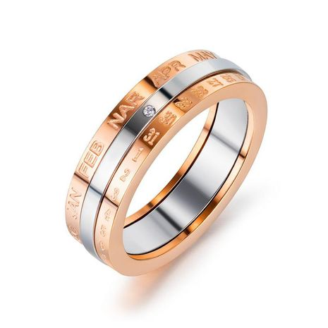 Korea Turnable Time Calendar Digital Alphabet Stainless Steel Rose Gold Ring wholesale nihaojewelry NHOP222198's discount tags