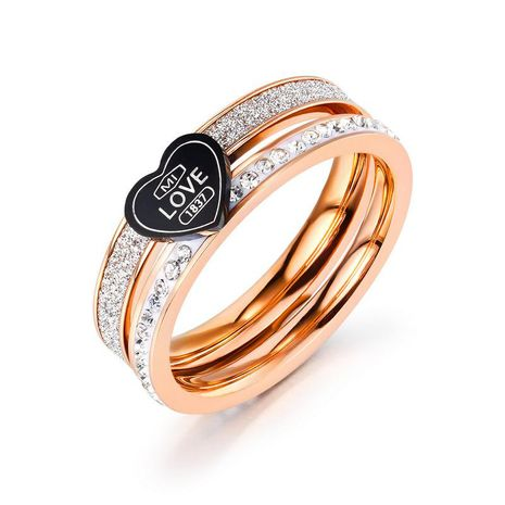 black love full diamond ring explosion models stainless steel rose gold ring wholesale nihaojewelry NHOP222199's discount tags
