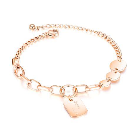 Corea joyería caliente personalidad creativa de acero inoxidable tarjeta redonda pulsera cuadrada accesorios al por mayor nihaojewelry NHOP222204's discount tags