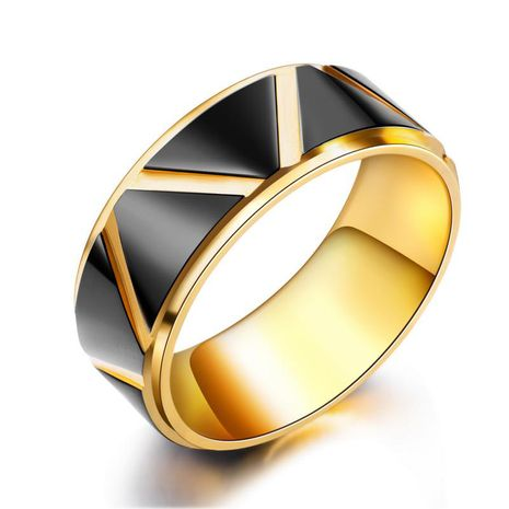 black gold gold  tide male ring men titanium steel ring wholesale nihaojewelry NHOP222205's discount tags