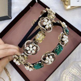 Diadema de diamantes de imitación barroca diadema de perlas de aleación pesada retro diadema antideslizante diadema de pelo presión pelo al por mayor nihaojewelry NHSM222208's discount tags