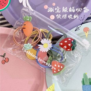 Korean fashion cute candy-colored fruit children's hair ring mini doll high elastic hair rope set tied hair rubber band wholesale nihaojewelry NHSM222209's discount tags