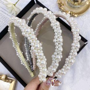 Corea del pelo de la perla de la novia de la princesa diadema de flores diadema antideslizante del pelo fino banda de pelo de presión al por mayor nihaojewelry NHSM222211's discount tags