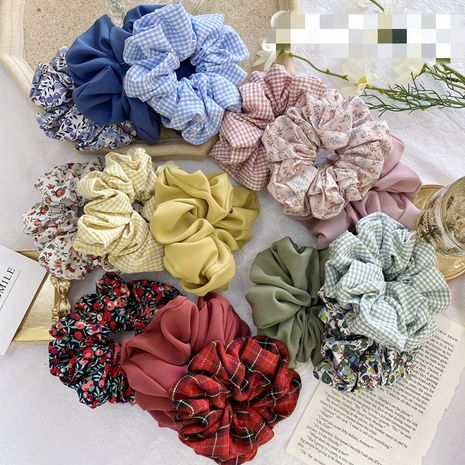 Korean hair scrunchies fashion simple cute  cheap scrunchies hair ring large lattice floral solid color hair rope tied hair rubber band scrunchies wholesale NHSM222215's discount tags