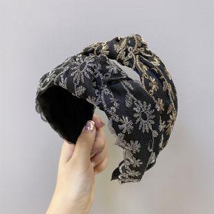 Diadema de encaje coreano moda malla bordado flor diadema anudada ancho lado agujero de pelo presión banda para el cabello venta al por mayor nihaojewelry NHSM222216's discount tags