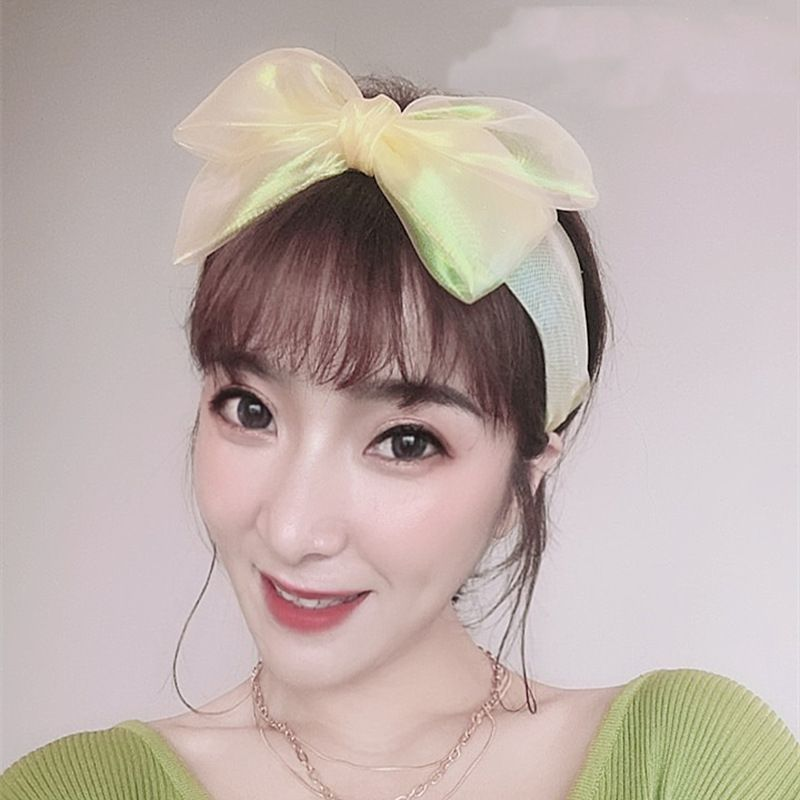 Korean mermaid bow hair band girl simple cute candy color wide-edge headband hair  accessories wholesale nihaojewelry NHSM222226