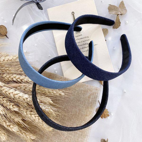 Korean simple hair hoop college girl solid color denim wide headband hair hole hair bundle wholesale nihaojewelry NHSM222229