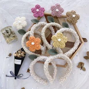 Cartoon cute flower headband Korean fashion lamb plush wash cloth wide-brimmed headband hair bundle wild hair accessories wholesale nihaojewelry NHSM222232's discount tags